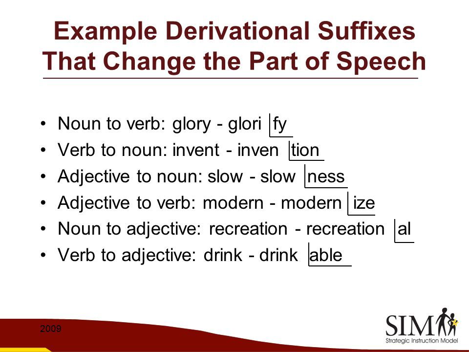 Example Derivational Suffixes That Change the Part of Speech