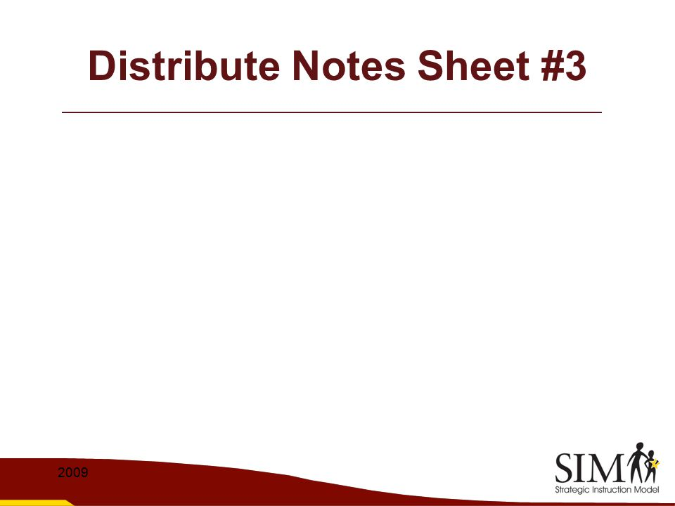 Distribute Notes Sheet #3