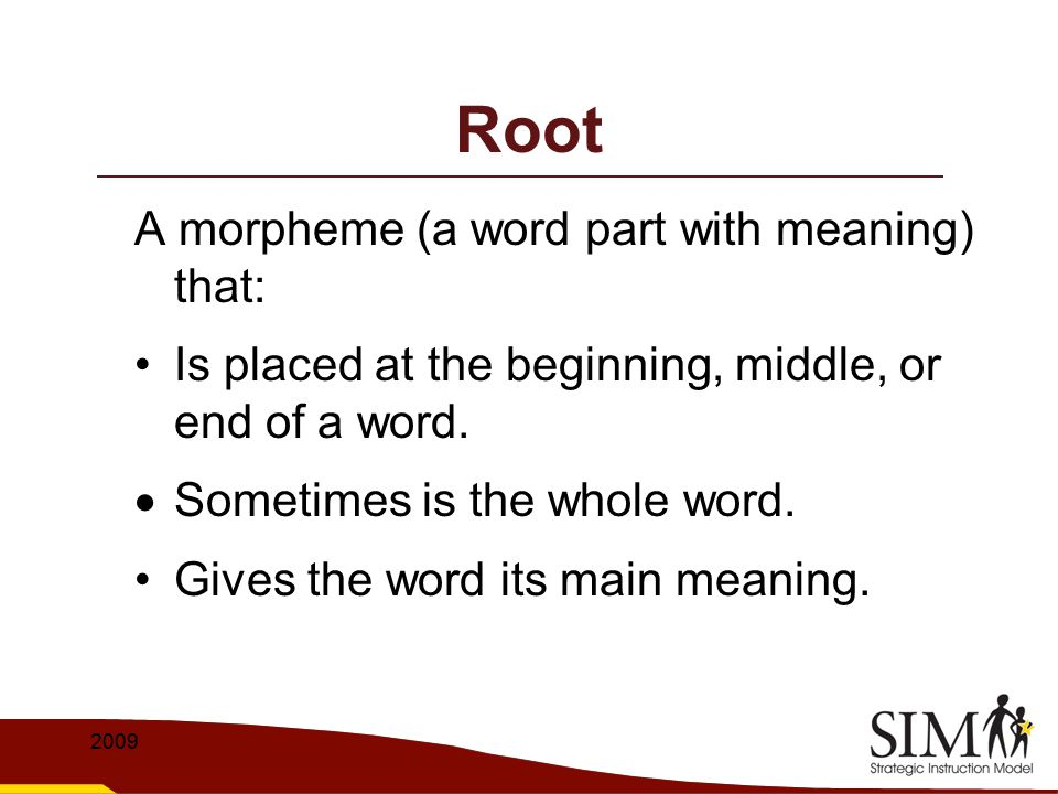 Root A morpheme (a word part with meaning) that: