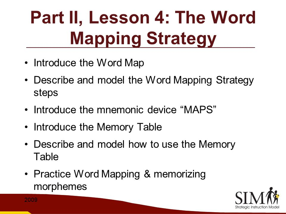 Part II, Lesson 4: The Word Mapping Strategy