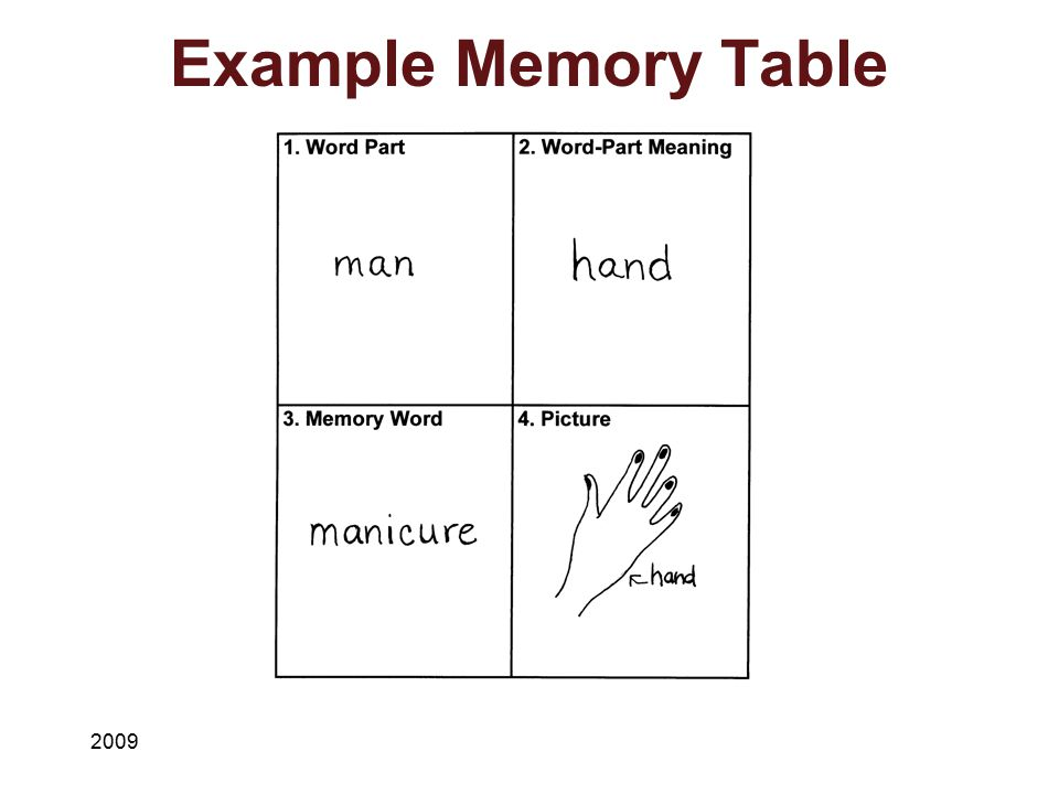 Example Memory Table 2009