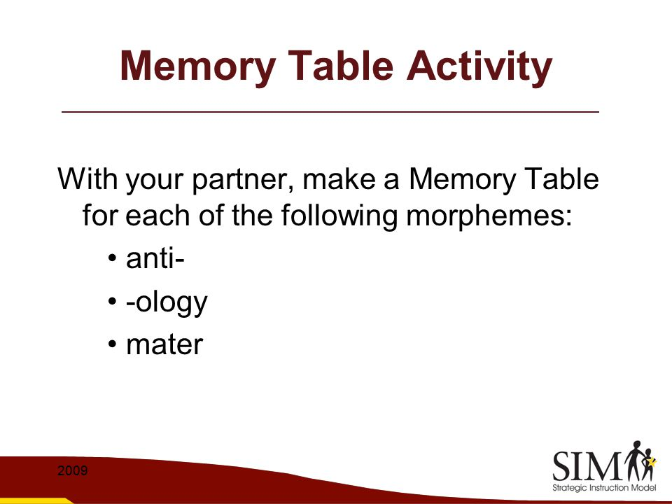 Memory Table Activity With your partner, make a Memory Table for each of the following morphemes: • anti-