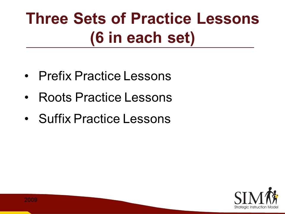 Three Sets of Practice Lessons (6 in each set)