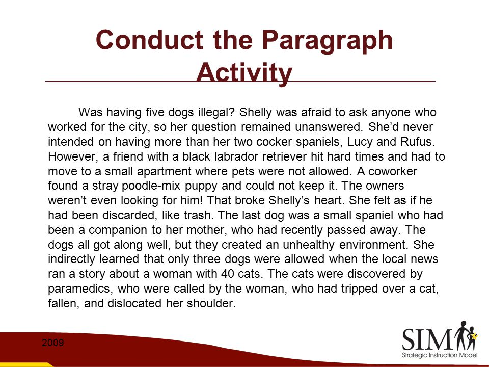 Conduct the Paragraph Activity