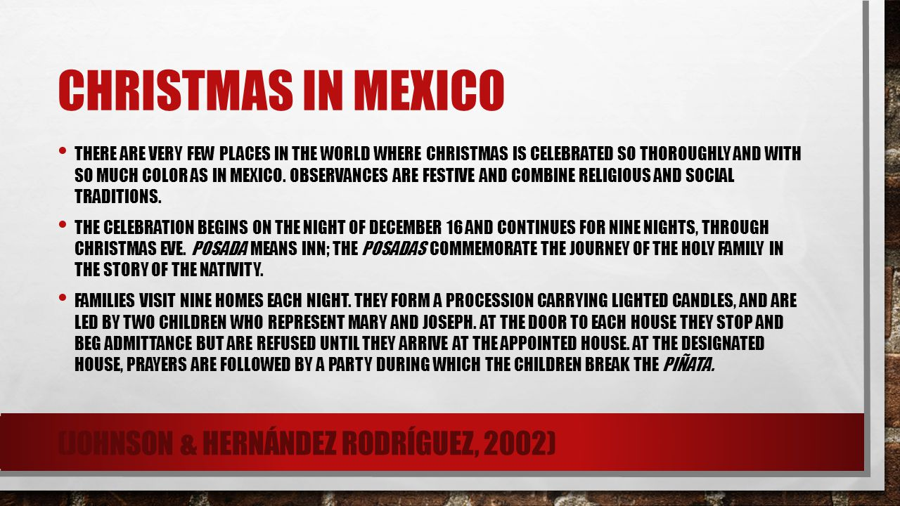 Christmas in mexico (Johnson & Hernández Rodríguez, 2002)