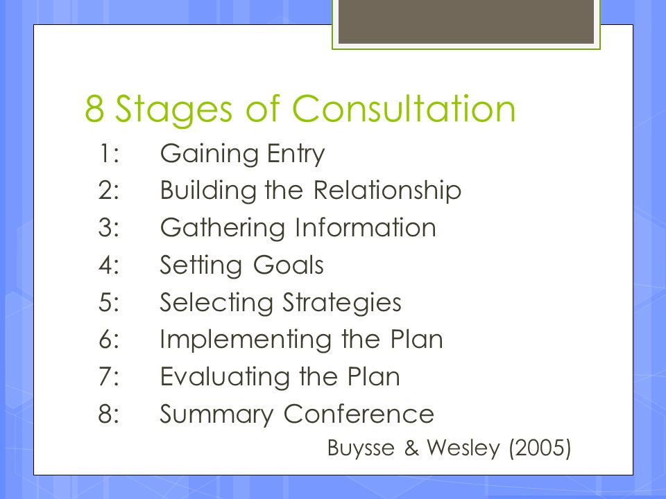 8 Stages of Consultation