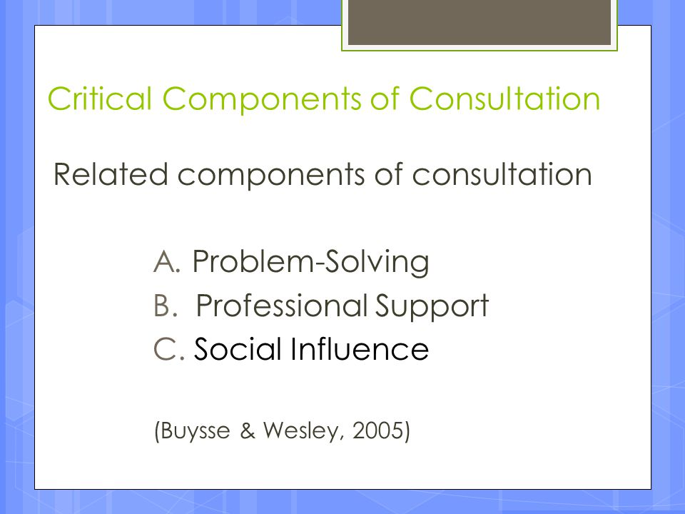 Critical Components of Consultation