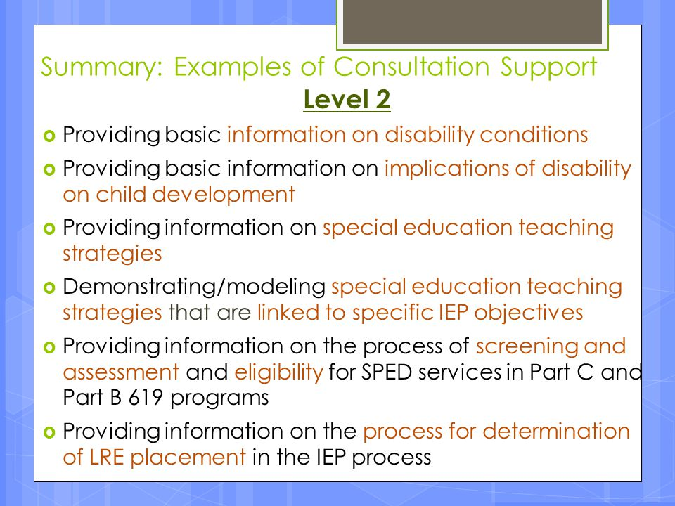 Summary: Examples of Consultation Support