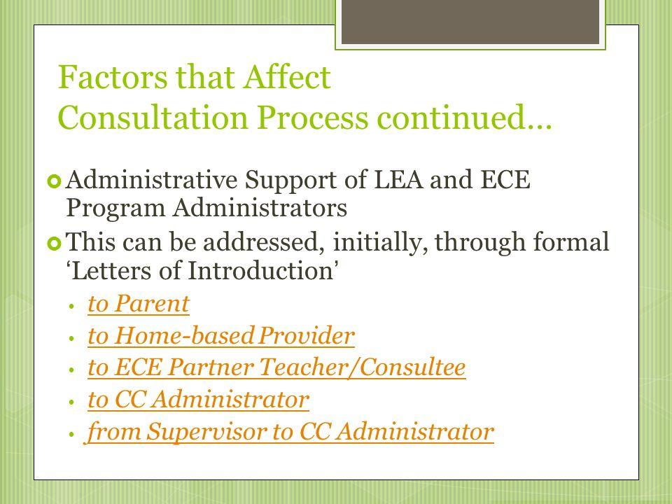 Factors that Affect Consultation Process continued…