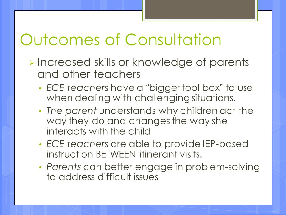 Outcomes of Consultation