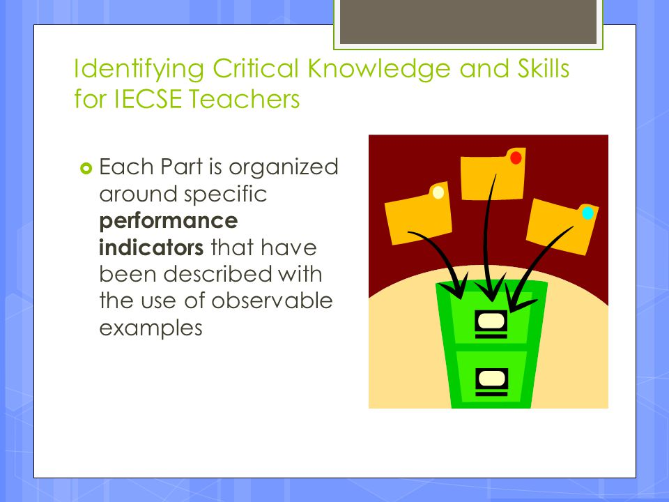Identifying Critical Knowledge and Skills for IECSE Teachers