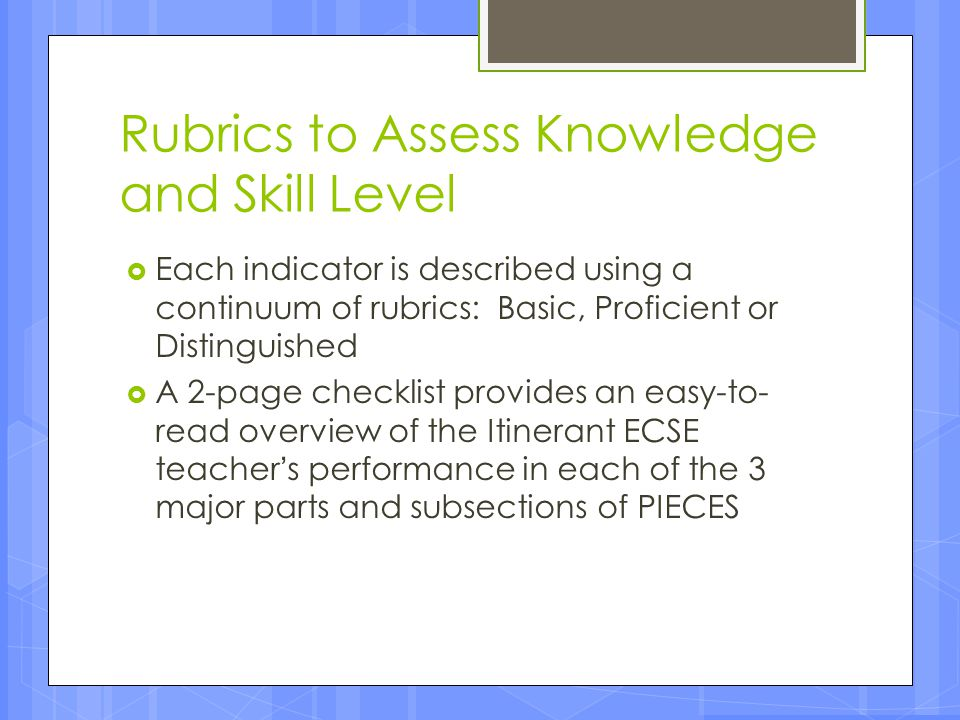 Rubrics to Assess Knowledge and Skill Level