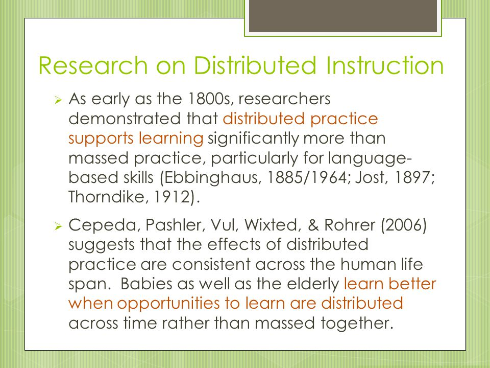 Research on Distributed Instruction