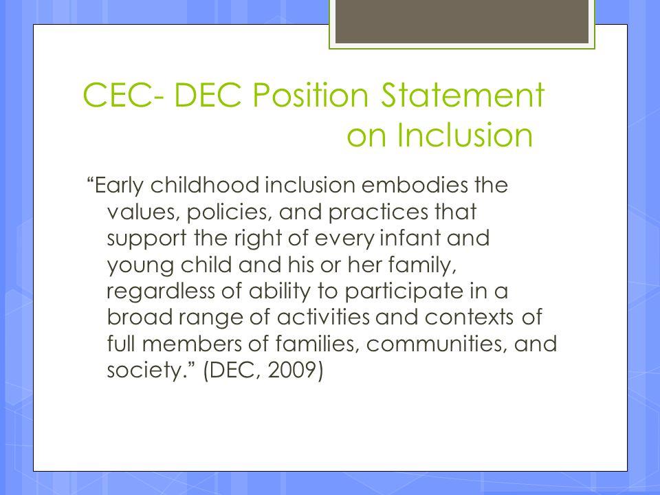 CEC- DEC Position Statement on Inclusion