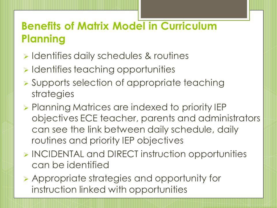 Benefits of Matrix Model in Curriculum Planning