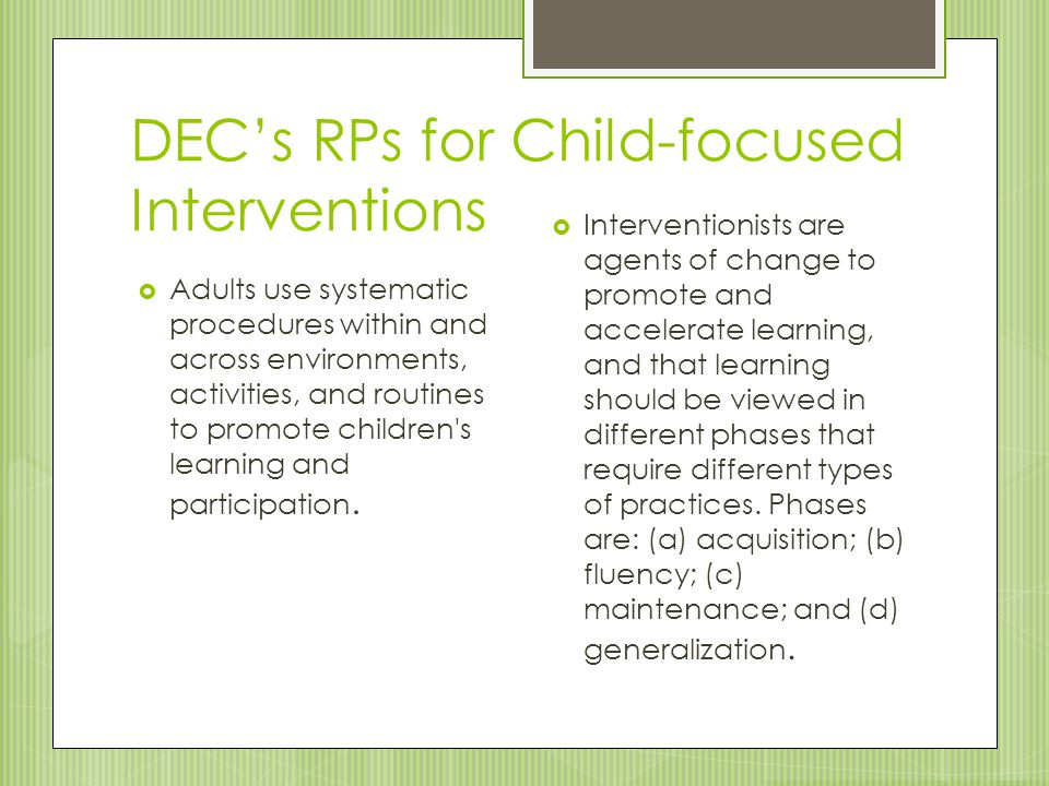 DEC's RPs for Child-focused Interventions