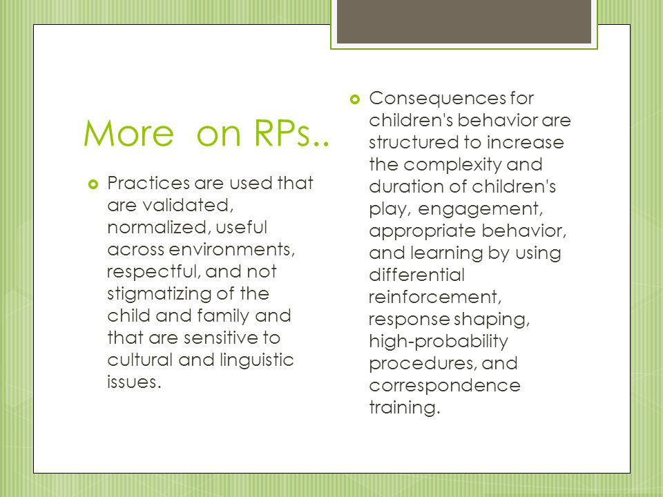 More on RPs..