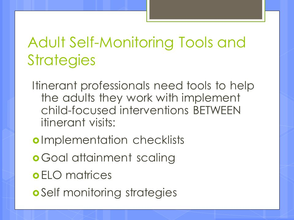 Adult Self-Monitoring Tools and Strategies