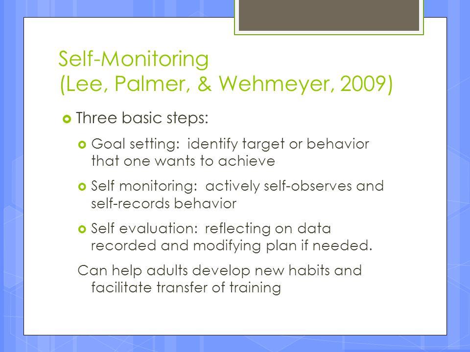 Self-Monitoring (Lee, Palmer, & Wehmeyer, 2009)