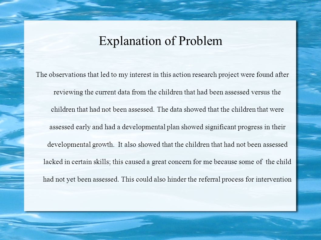 Explanation of Problem