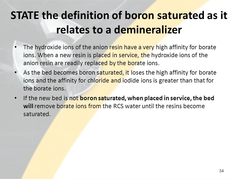 STATE the definition of boron saturated as it relates to a demineralizer