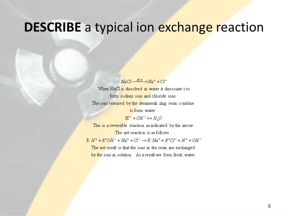 DESCRIBE a typical ion exchange reaction