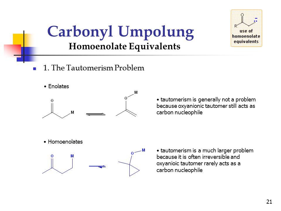 Carbonyl Umpolung Homoenolate Equivalents 1. The Tautomerism Problem
