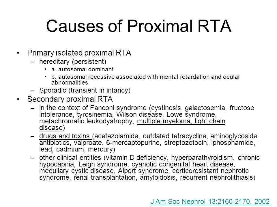 Causes of Proximal RTA Primary isolated proximal RTA