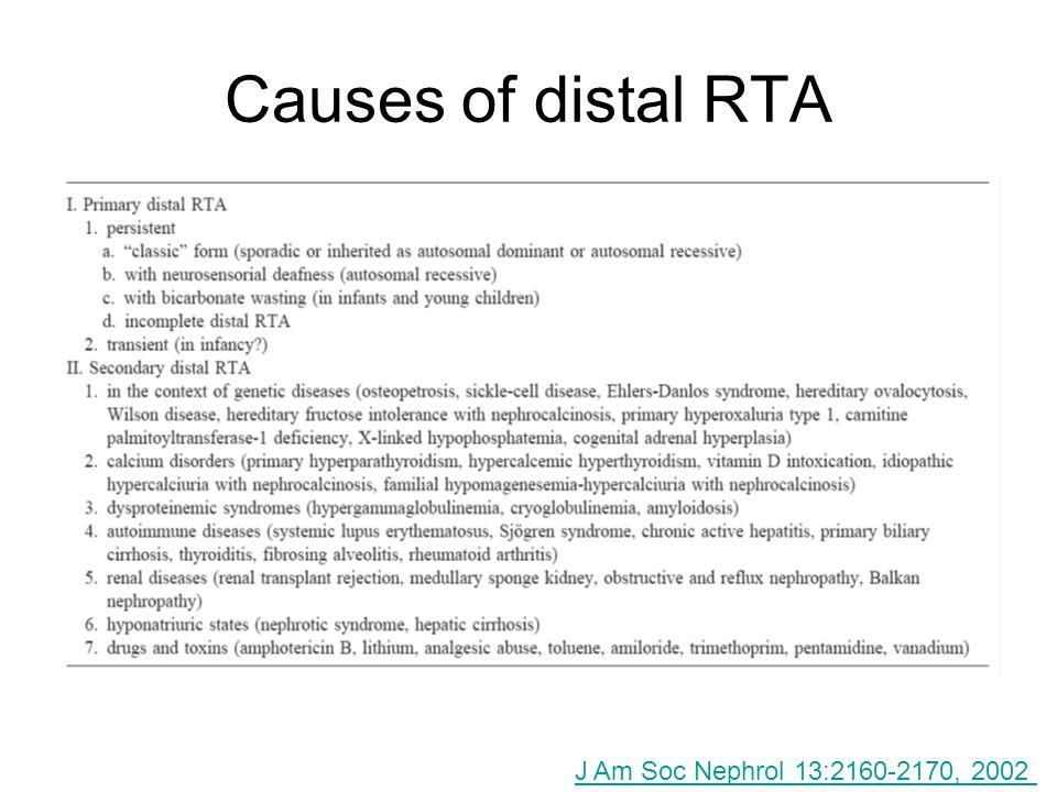 Causes of distal RTA J Am Soc Nephrol 13:2160-2170, 2002