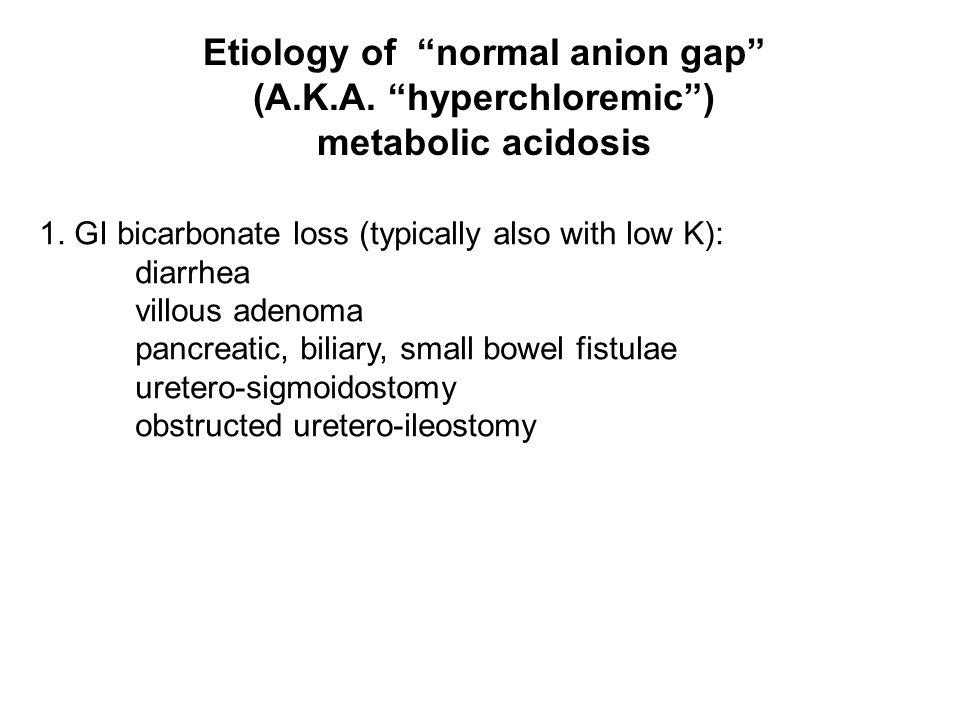 Etiology of normal anion gap (A.K.A. hyperchloremic )