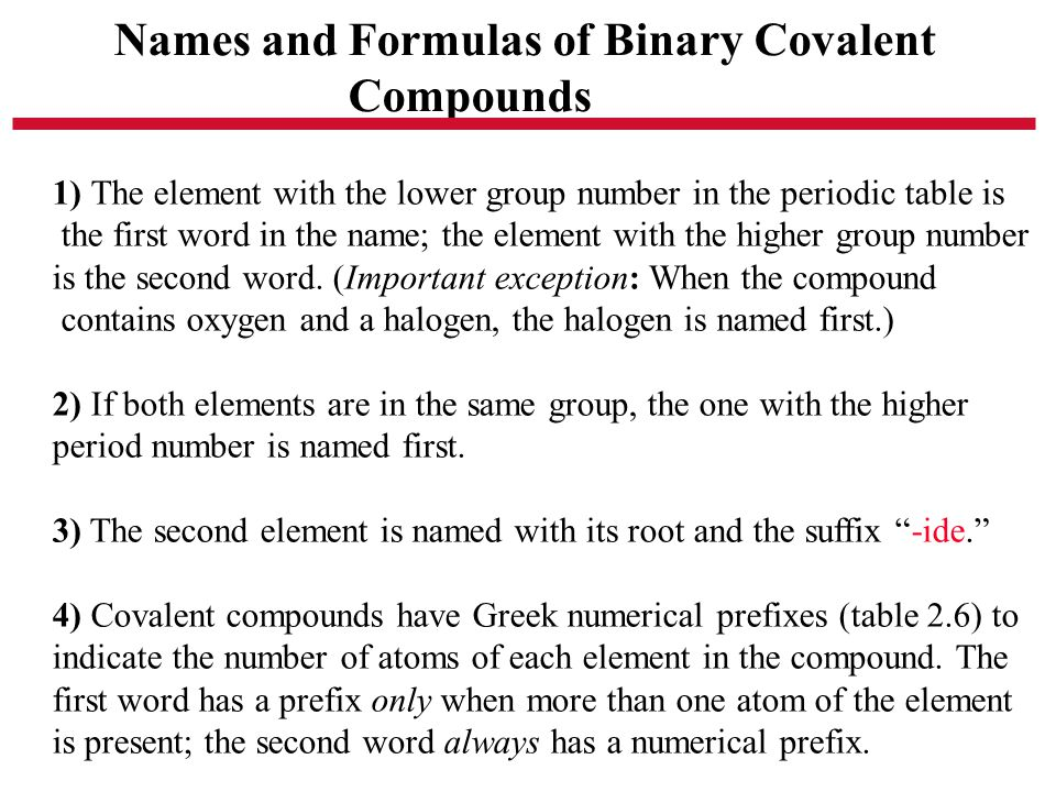 Names and Formulas of Binary Covalent Compounds