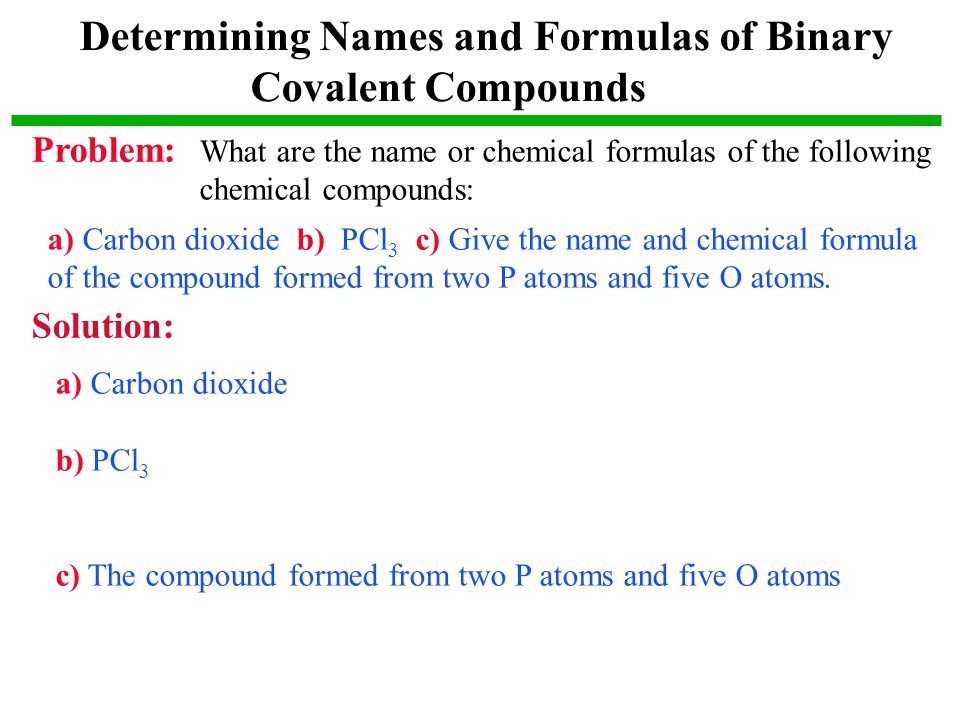 Determining Names and Formulas of Binary Covalent Compounds