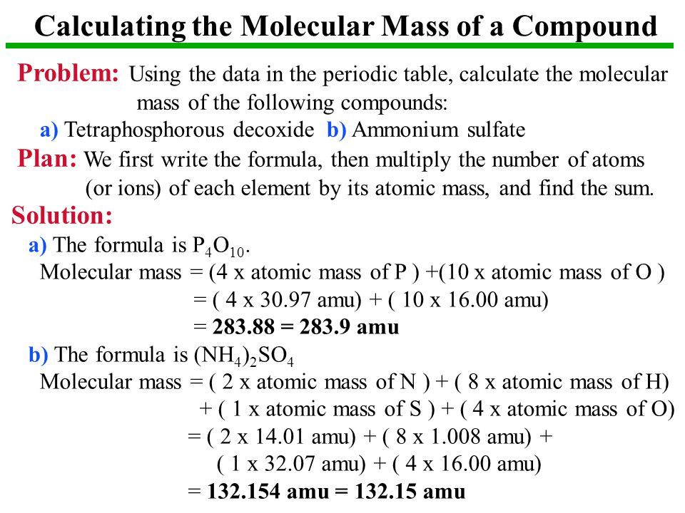 Calculating the Molecular Mass of a Compound