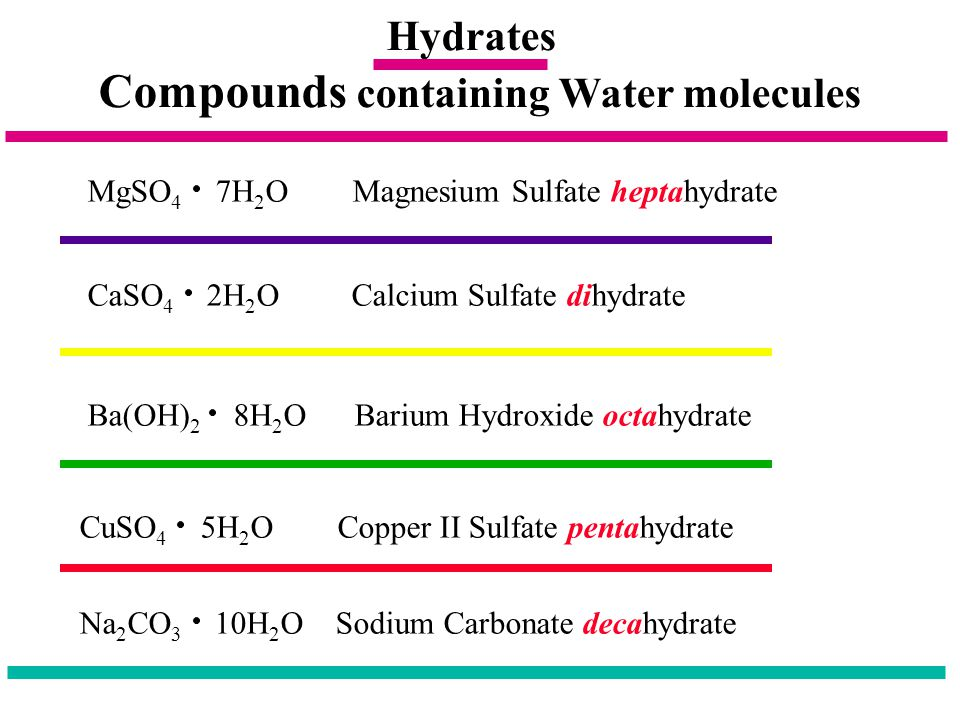 Compounds containing Water molecules