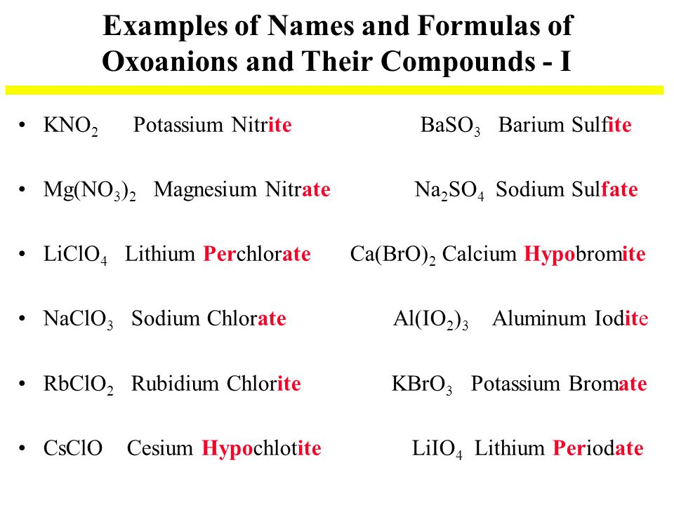 Examples of Names and Formulas of Oxoanions and Their Compounds - I