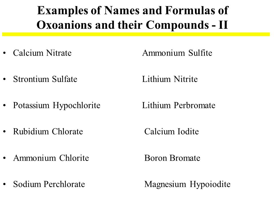 Examples of Names and Formulas of Oxoanions and their Compounds - II