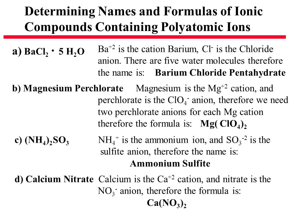 Determining Names and Formulas of Ionic