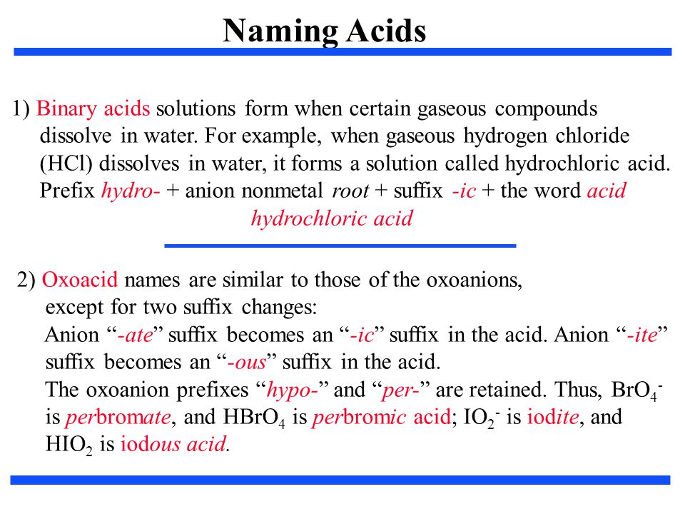 Naming Acids 1) Binary acids solutions form when certain gaseous compounds. dissolve in water. For example, when gaseous hydrogen chloride.