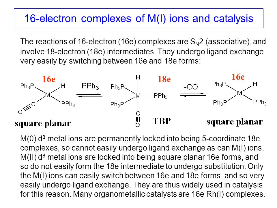 16-electron complexes of M(I) ions and catalysis