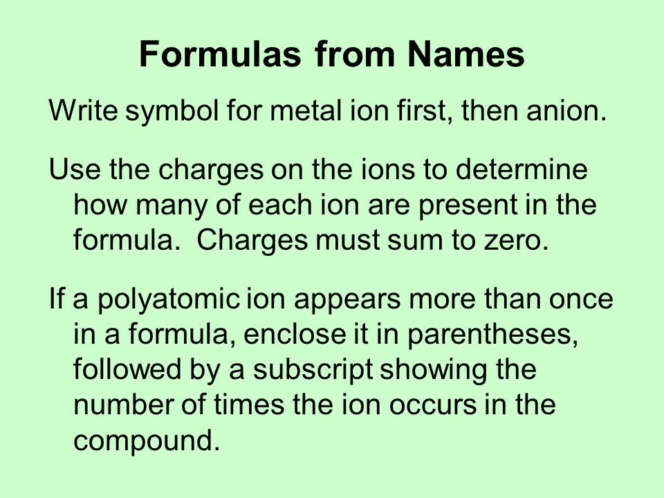 Formulas from Names Write symbol for metal ion first, then anion.