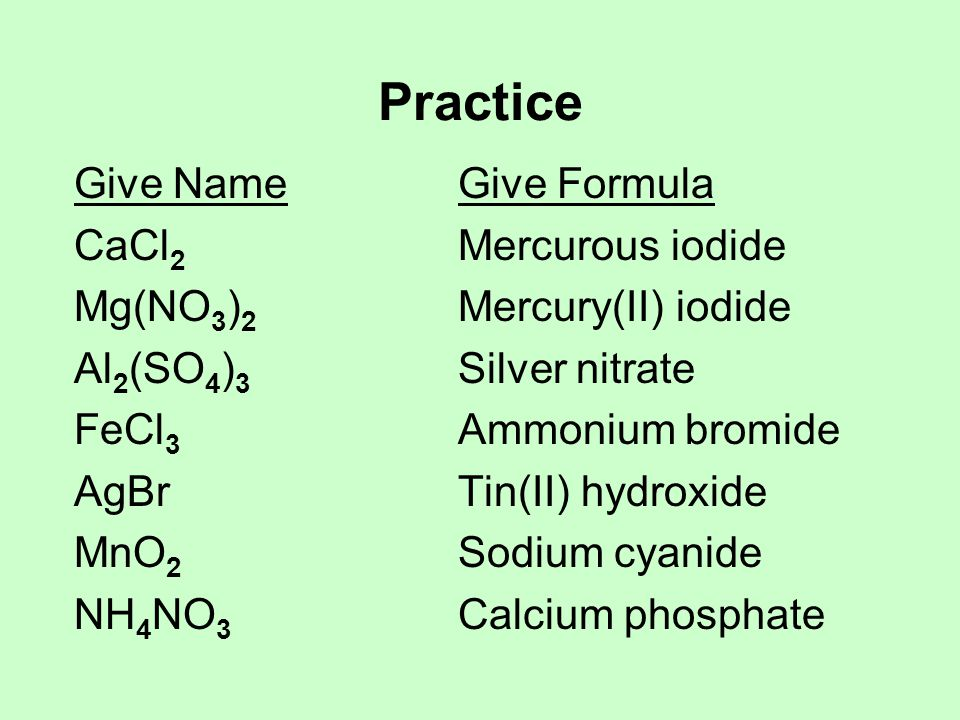 Practice Give Name Give Formula CaCl2 Mercurous iodide