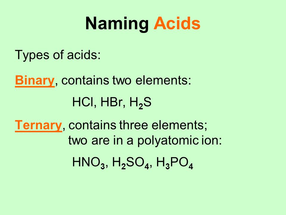Naming Acids Types of acids: Binary, contains two elements: