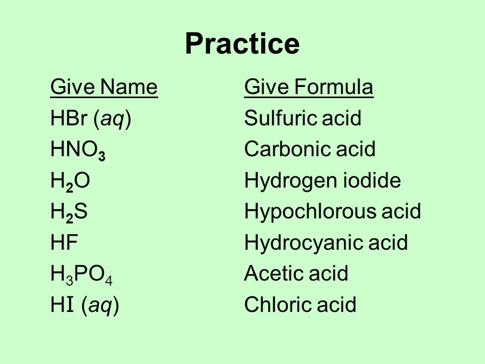 Practice Give Name Give Formula HBr (aq) Sulfuric acid