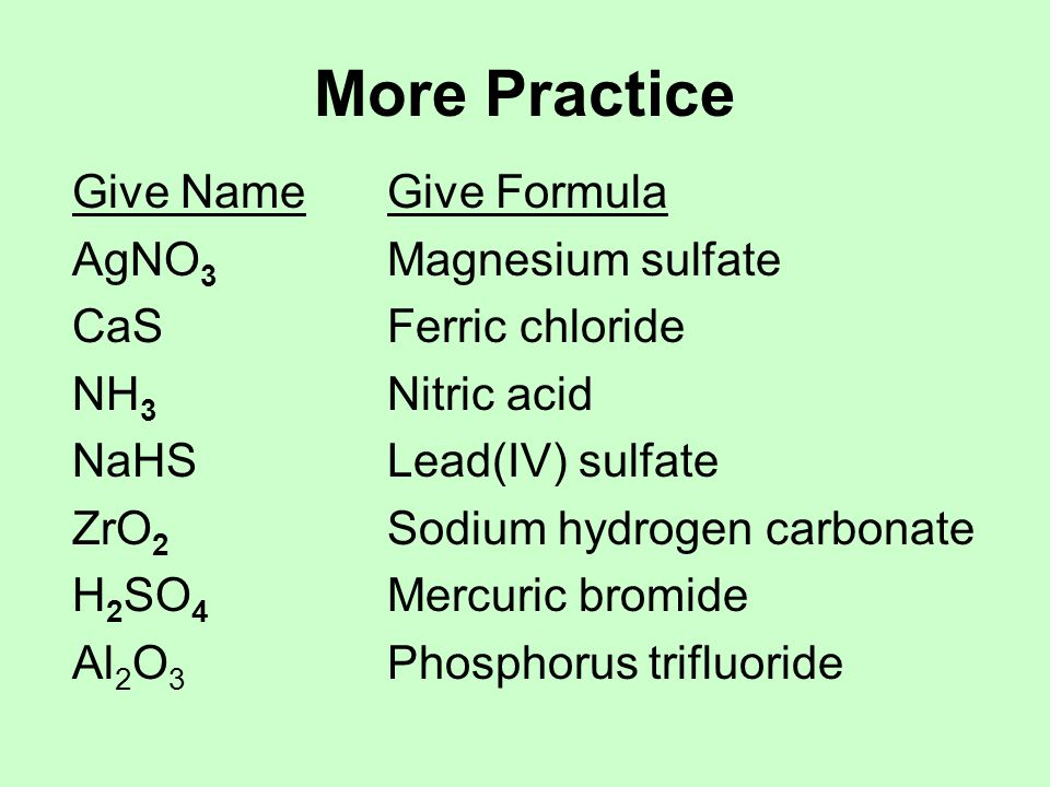 More Practice Give Name Give Formula AgNO3 Magnesium sulfate