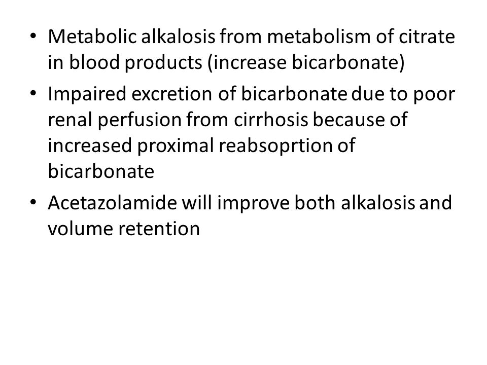 Metabolic alkalosis from metabolism of citrate in blood products (increase bicarbonate)