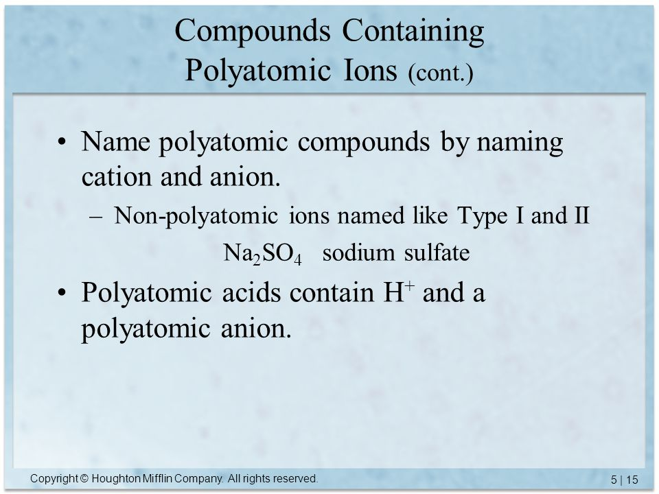 Compounds Containing Polyatomic Ions (cont.)