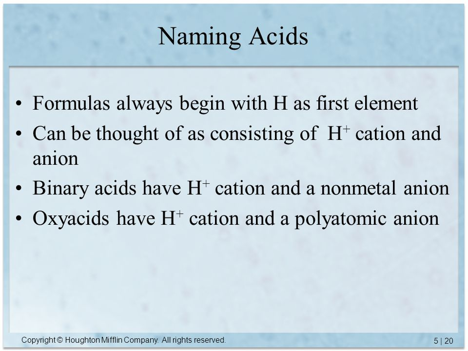 Naming Acids Formulas always begin with H as first element