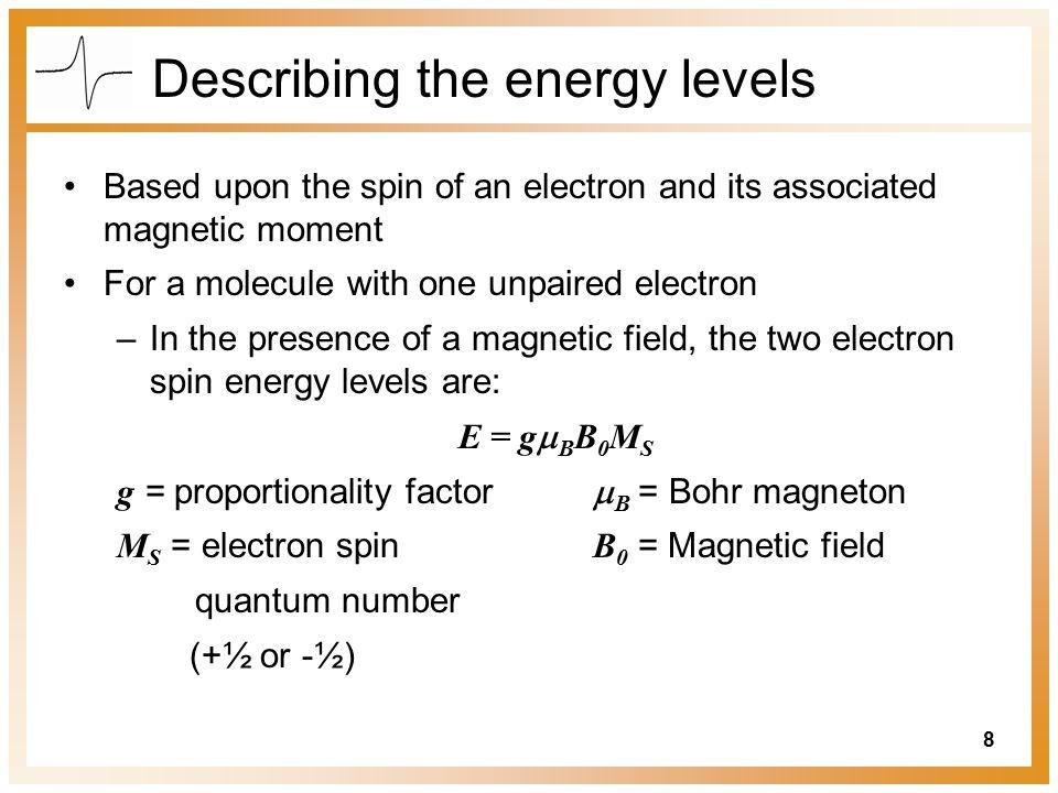 Describing the energy levels