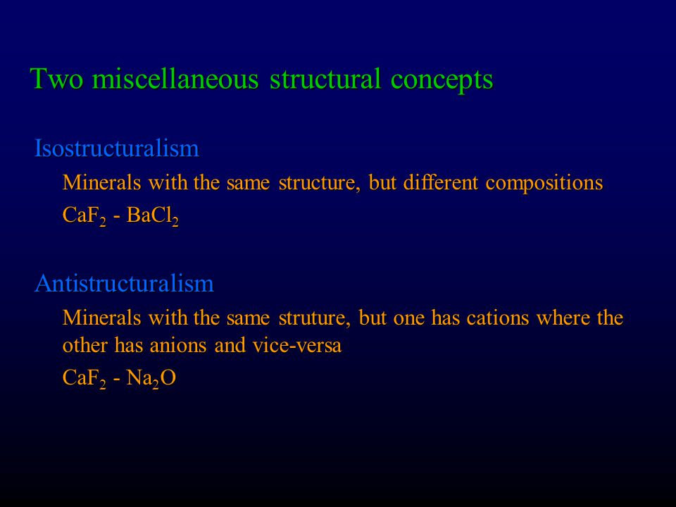 Two miscellaneous structural concepts