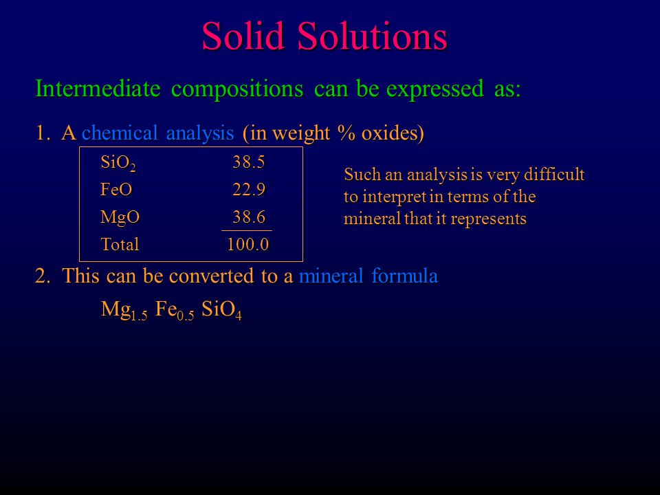 Solid Solutions Intermediate compositions can be expressed as:
